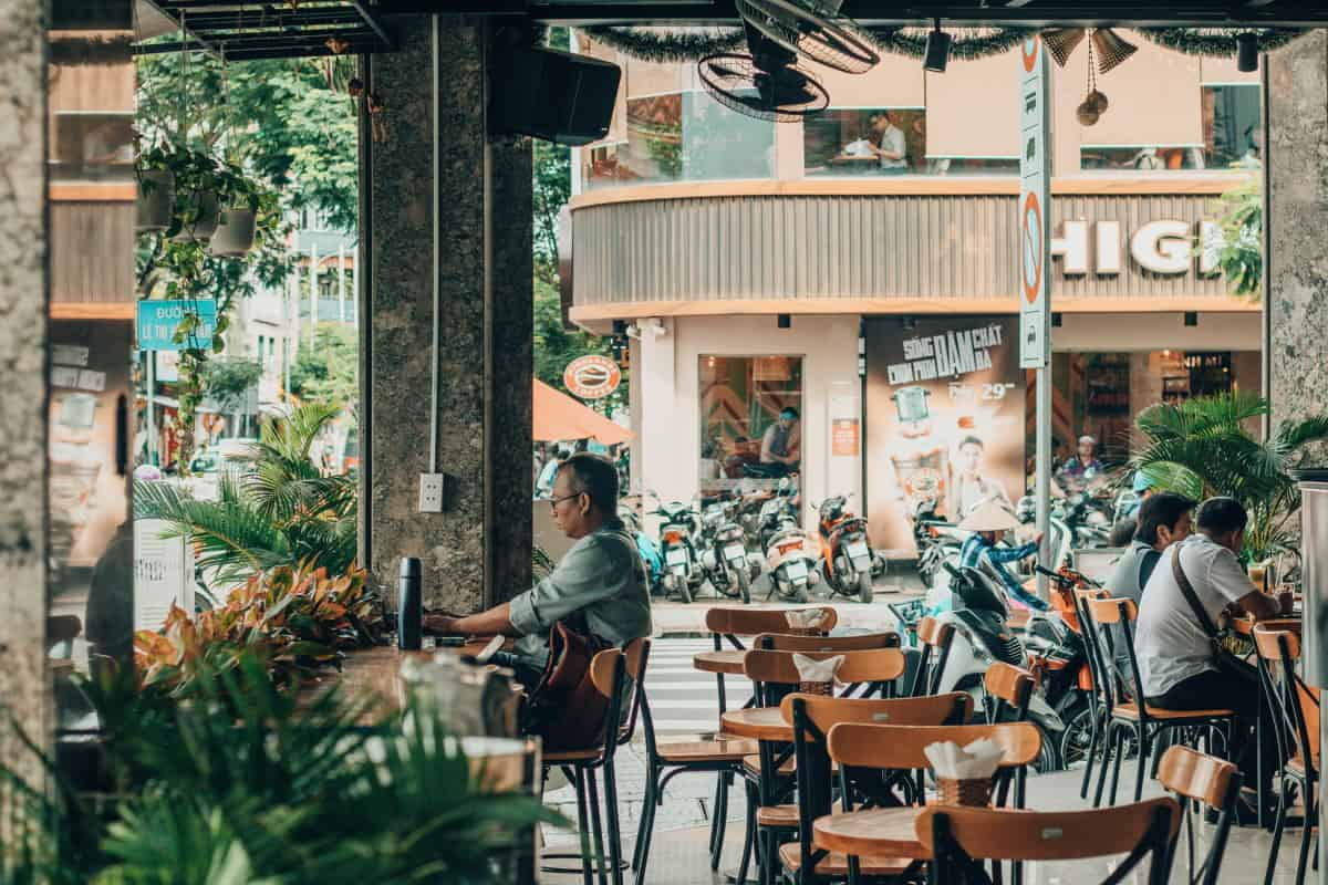 a shot from inside a vietnamese cafe