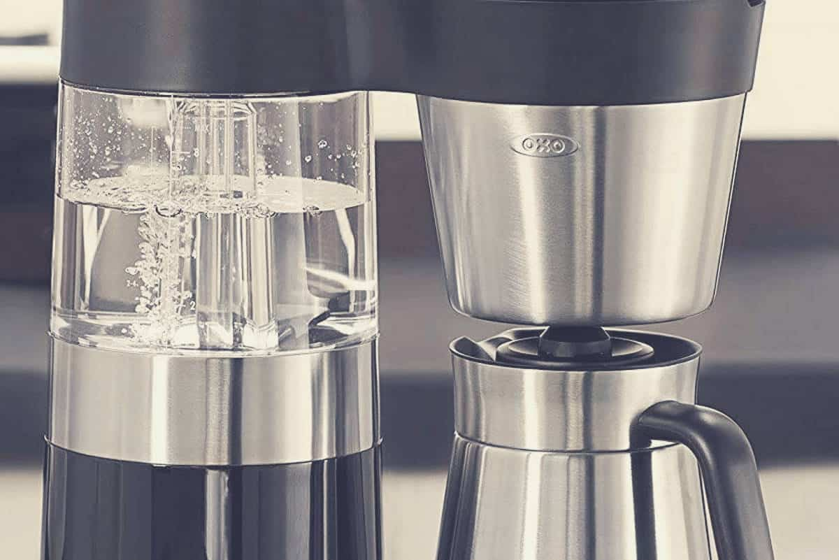 A close up shot of an automatic pour over coffee machine