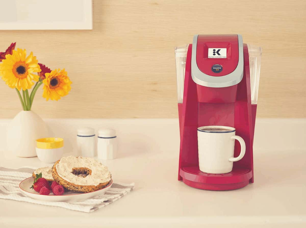 Promotional shot of a pink Keurig K250