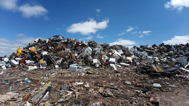 Landfill full of plastic and electronic clutter