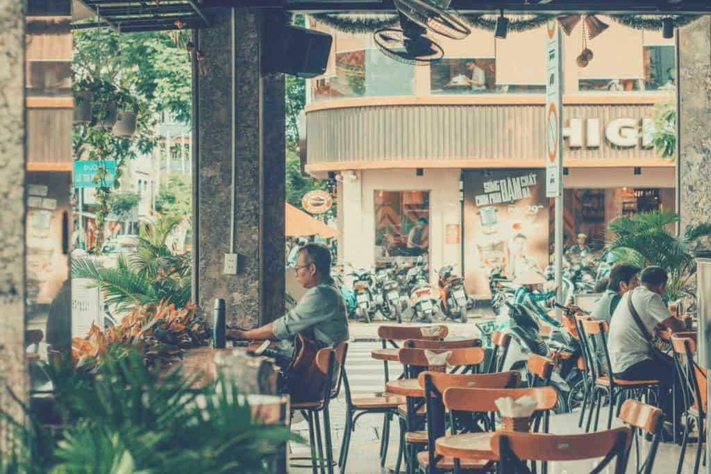 A wide shot of a Vietnamese cafe