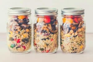 three jars of breakfast prepped in mason jars