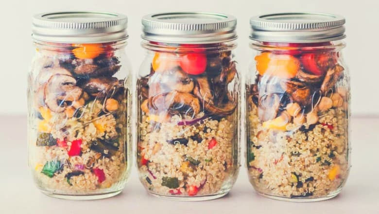 vegetables and couscous in mason jars