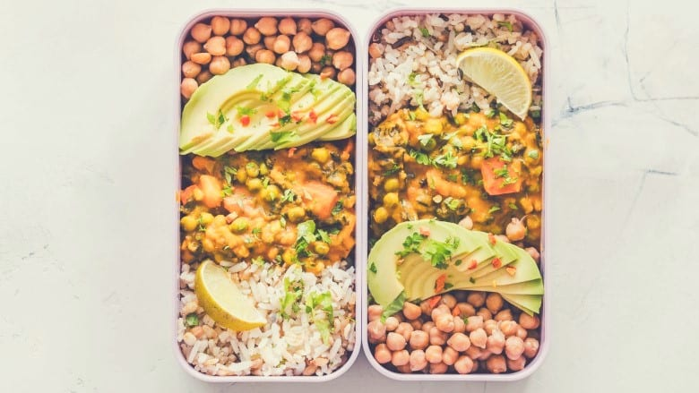 Two pre-prepped meals in containers side by side