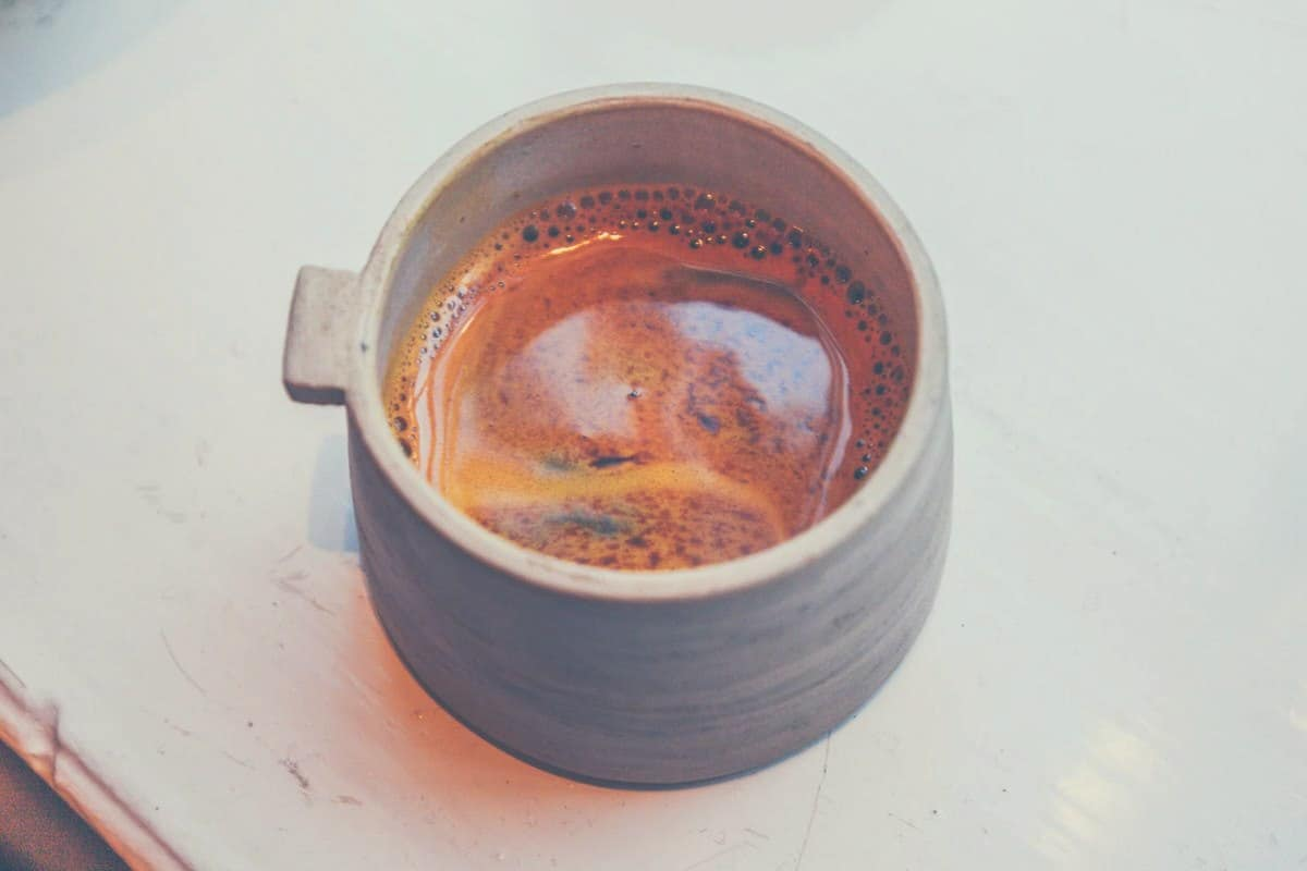 Overhead shot of a long black coffee