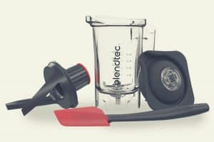The Blendtec Twister jar with tamping device, blade unit and lid
