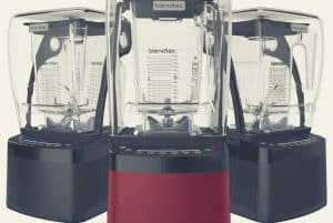 Three Blendtec Professional 800 machines in different color options